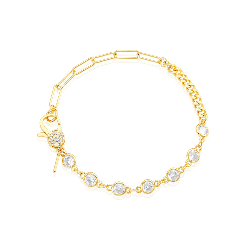 Patchwork Mixed Chain Crystal Lock Bracelet gold