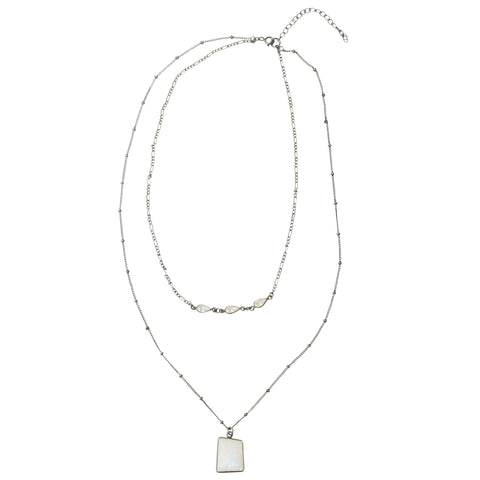 Layered Necklace moonstone silver gold