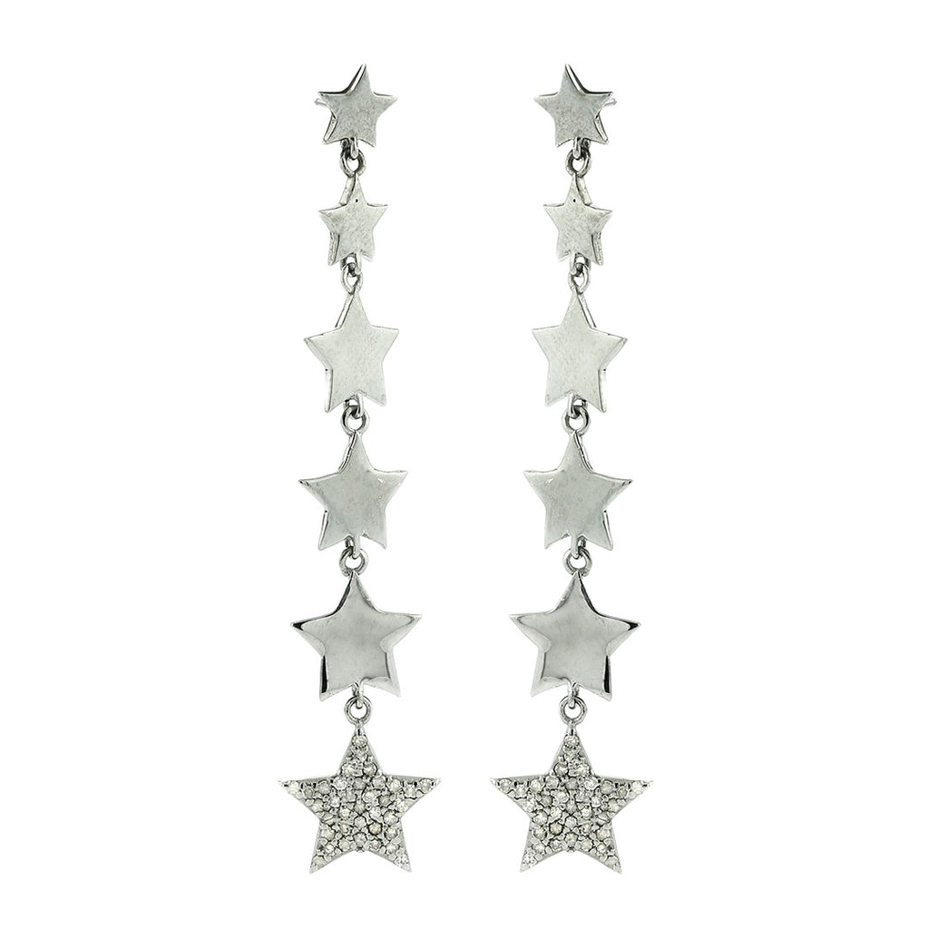 Dangling Sweeper Star Earring silver diamond