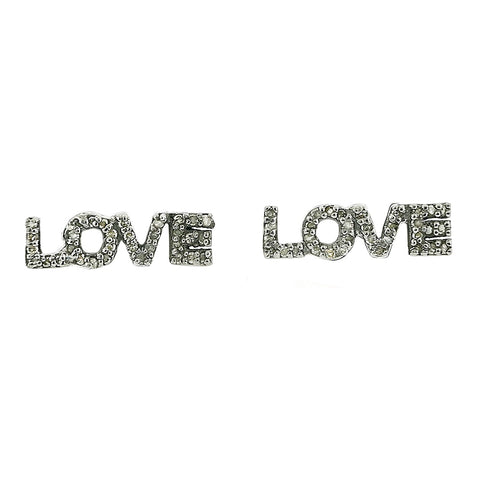 Diamond Block Letter Love Studs