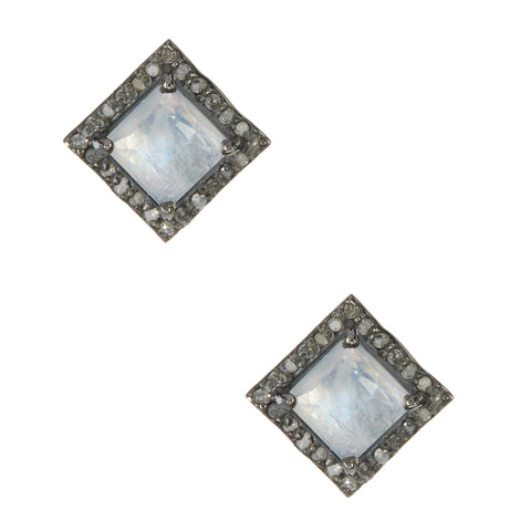 Millicent Square Diamond Halo Stud Earrings moonstone silver