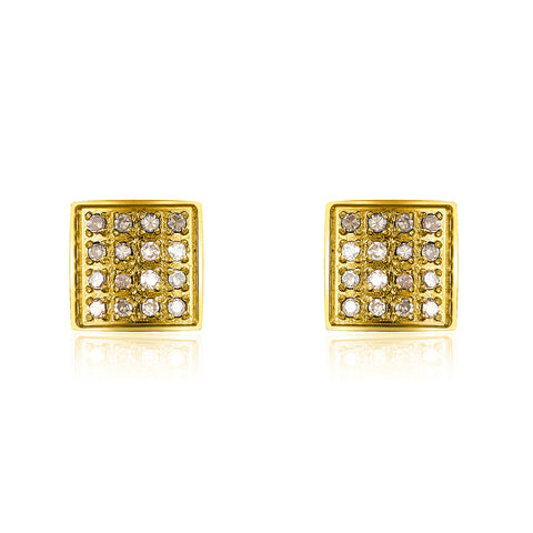 Ethel Square Stud Earrings diamond silver