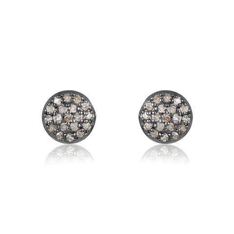 Imogen 6mm Pave Diamond Disc Stud Earrings diamond silver yellow gold rose gold