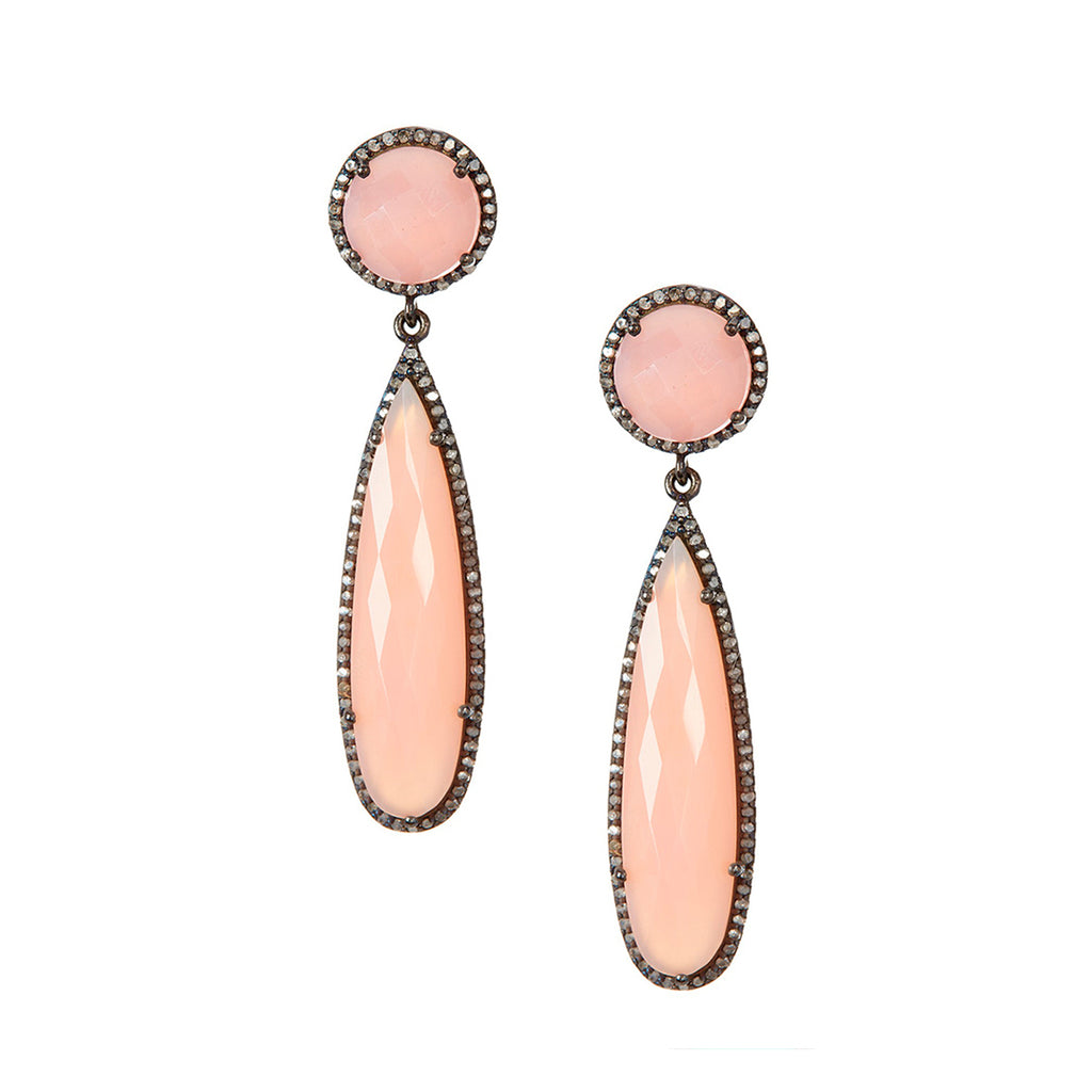 Diamond Pink Chalcedony Pear Drop Earrings silver
