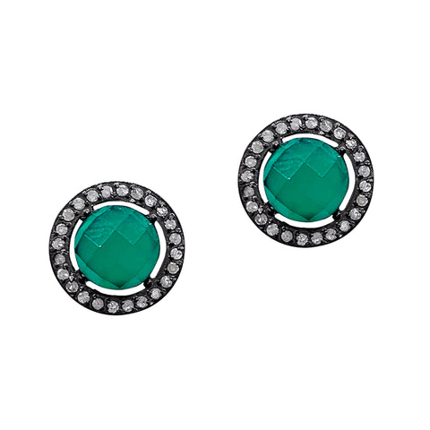 Echo Green Onyx Diamond Halo Studs silver
