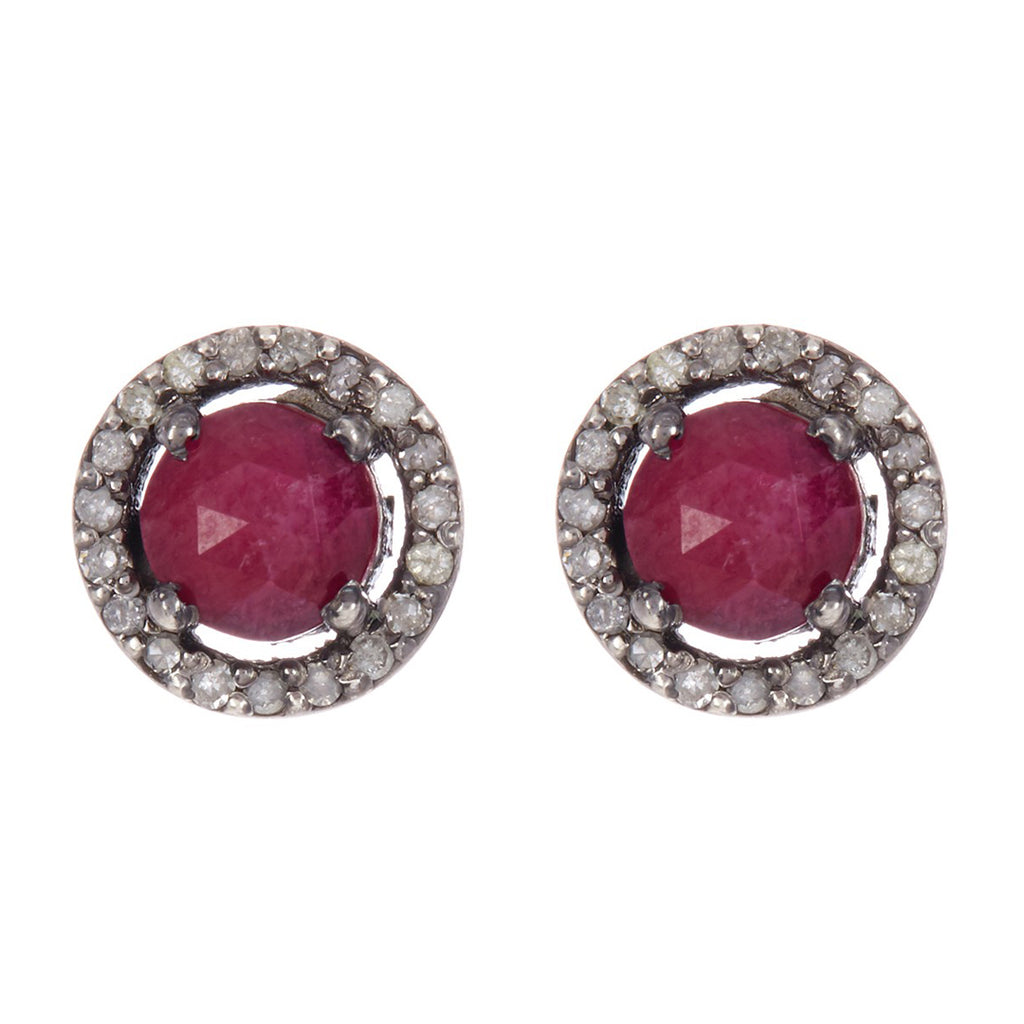 Mini Halo Studs ruby