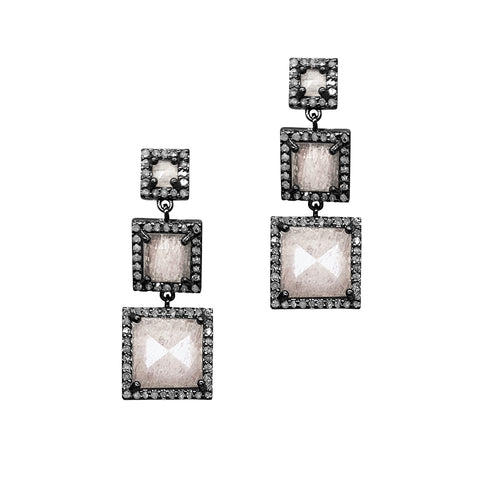 Thompson Three Drop Moonstone Earrings diamond silver