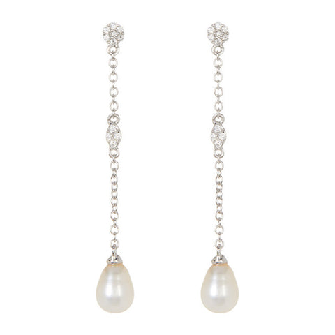 Freshwater Pearl Drop Earrings silver