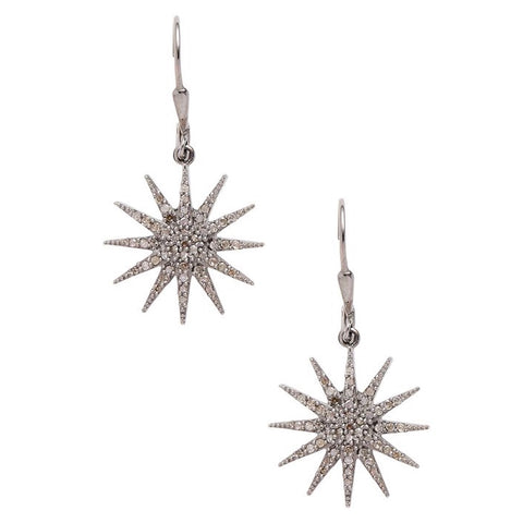 Starburst Diamond Dangle Earrings silver
