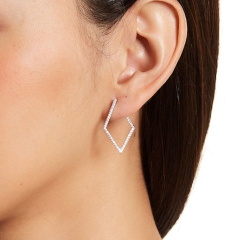 Geometric Wrap Around Hoops silver