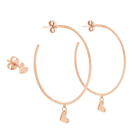 Diamond Heart Hoop and Stud Earring Set silver rose gold