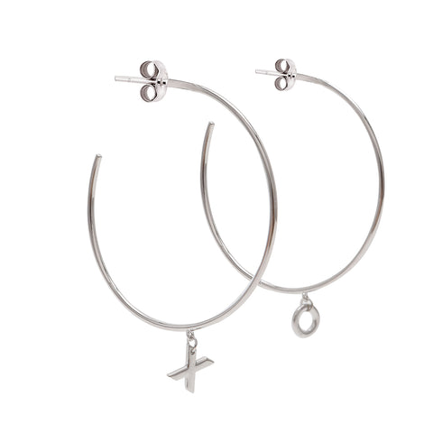 XO Hoop Earrings silver gold rose gold