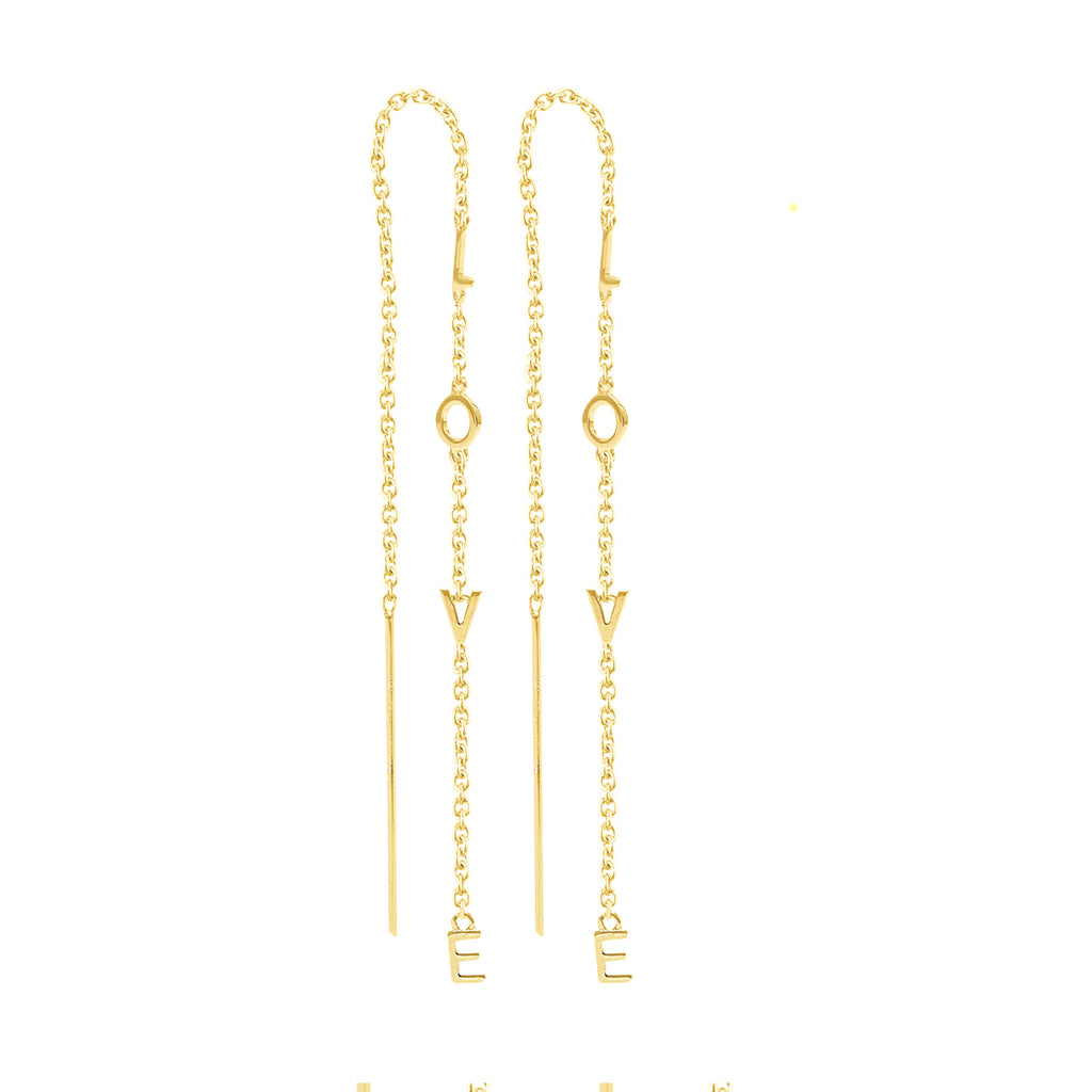 Love Chain Threader Earrings silver yellow gold rose gold