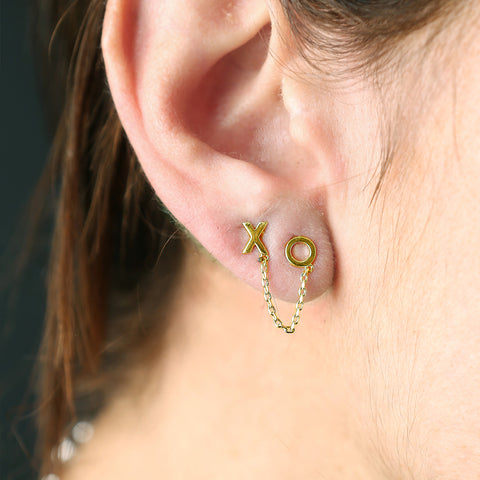 XO Duo Chain Stud Earrings