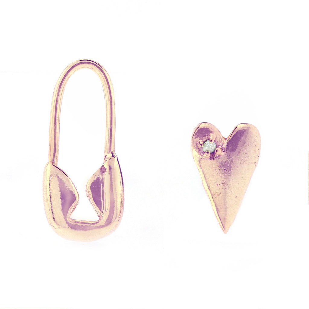 Safety Pin Heart Mismatched Studs silver gold rose gold