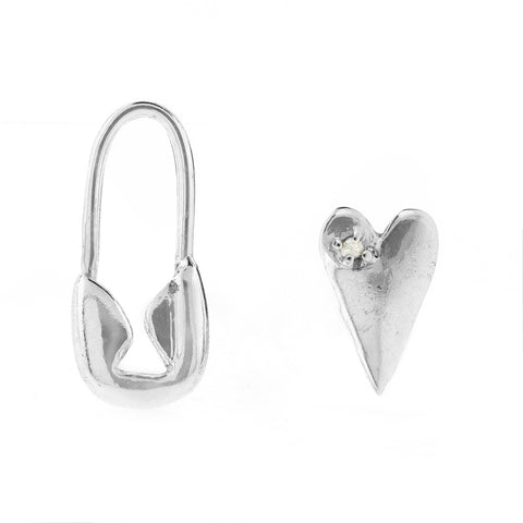 Safety Pin Heart Mismatched Studs