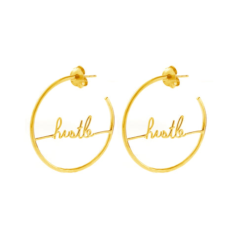 Cursive Hustle Hoop Earrings gold silver