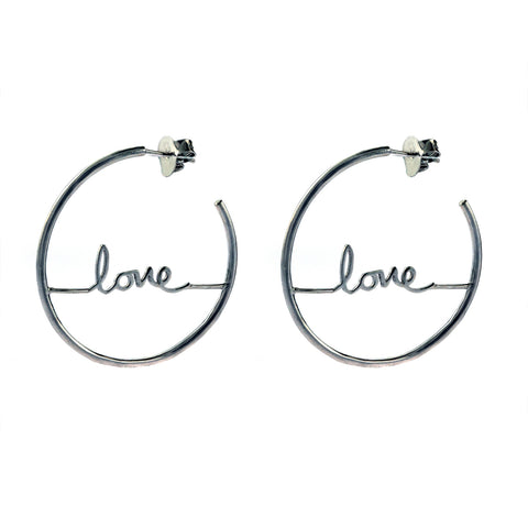Cursive Love Hoop Earrings silver gold