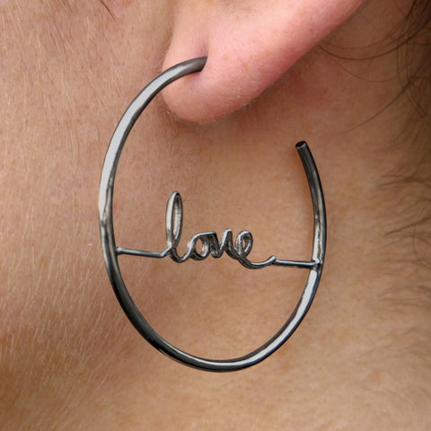 Cursive Love Hoop Earrings