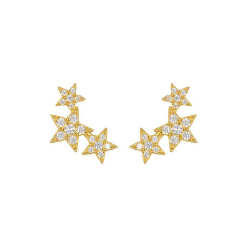 Shooting Star Earrings silver gold