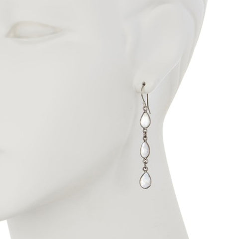 Three Drop Teardrop Dangle Earrings rainbow moonstone silver