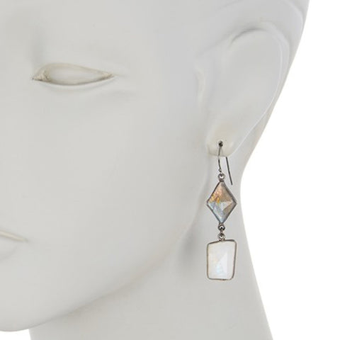 Rough Cut Moonstone and Labradorite Dangle Earrings silver
