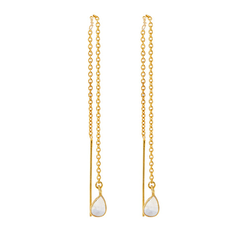 Teardrop Threader Chain Earrings moonstone silver gold