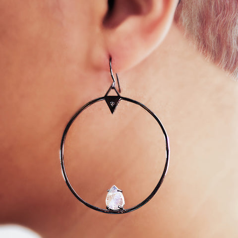 Forward Facing Hoop Earrings moonstone silver