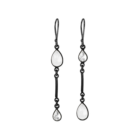 Asymmetrical Drop Earrings moonstone