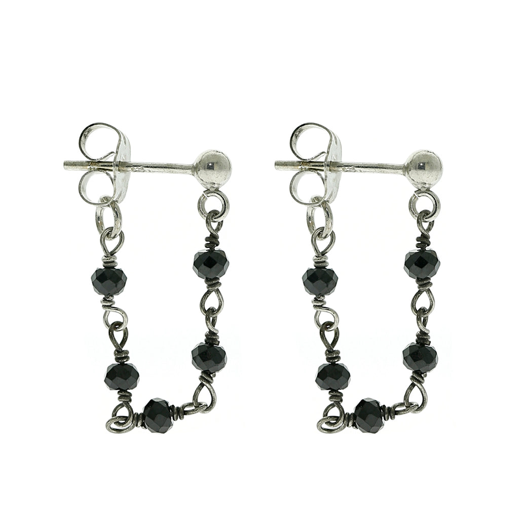 Wrap Around Rosary Earrings black spinel