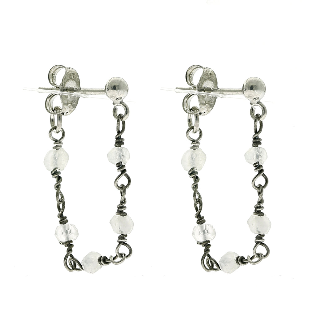 Wrap Around Chain Rosary Earrings moonstone silver