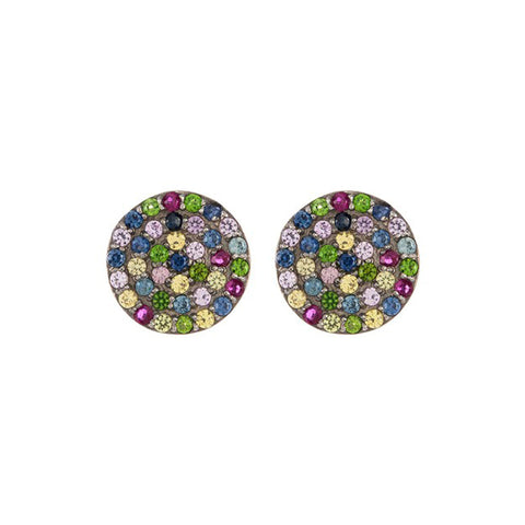 Pave Disc Mixed Sapphire Mosaic Stud Earrings sapphire silver