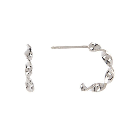 Twisted Hoop Huggie Earrings silver