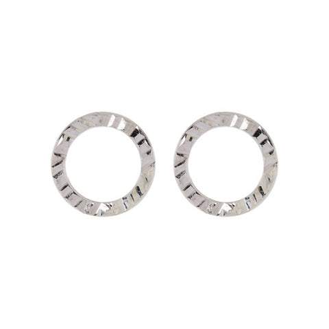 Hammered Open Circle Stud Earrings