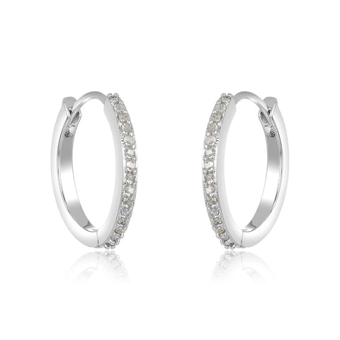 Pave Diamond Huggie Hoop Earrings silver