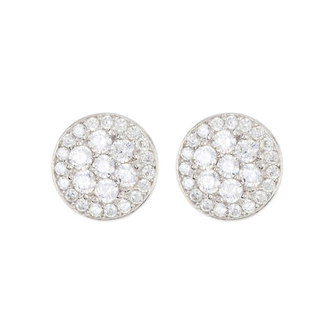 Halo Cluster Crystal Studs silver