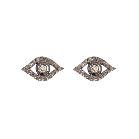 Pave Diamond Evil Eye Earrings diamond silver