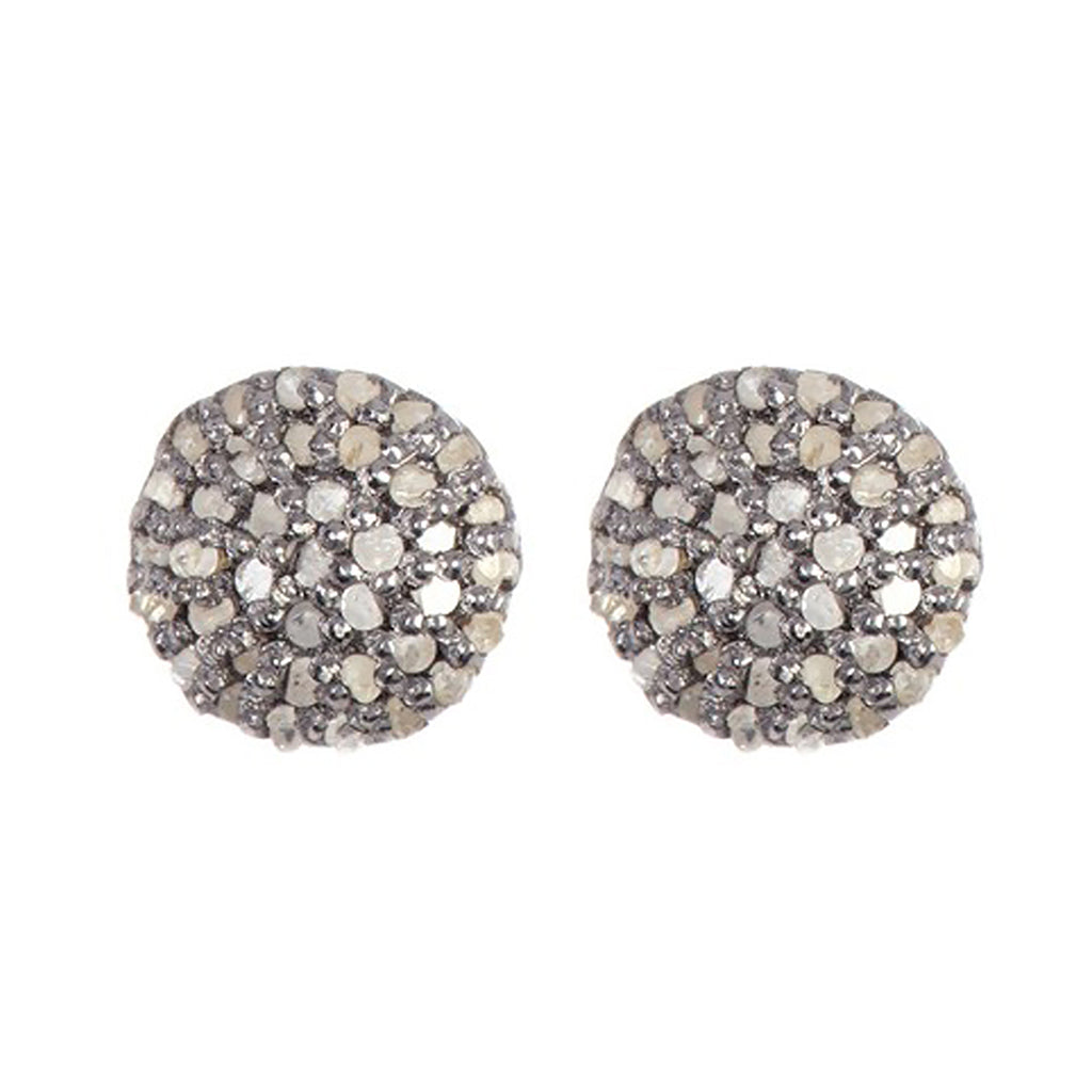 Pave 3mm Diamond Disc Stud Earrings silver