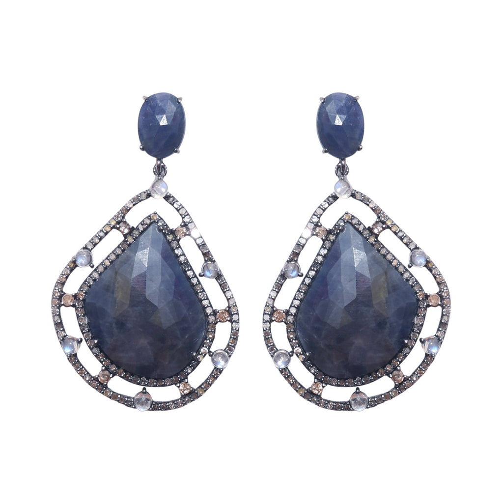 Organic Form Ornate Frame Earrings blue sapphire moonstone diamond silver