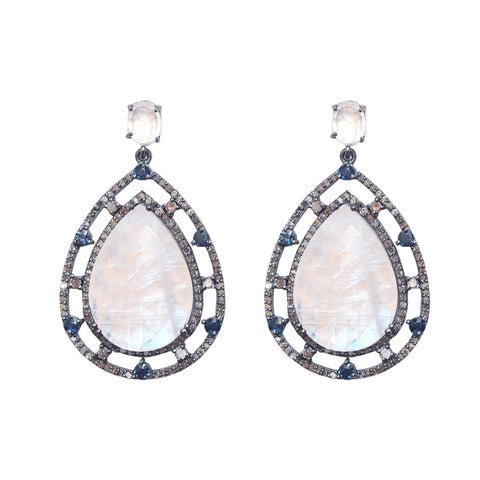 Organic Form Ornate Frame Earrings rainbow moonstone diamond silver