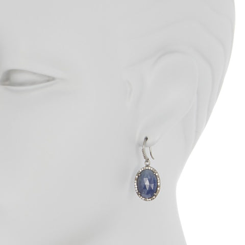 Oval Cut Diamond Halo Dangle Earrings blue sapphire silver