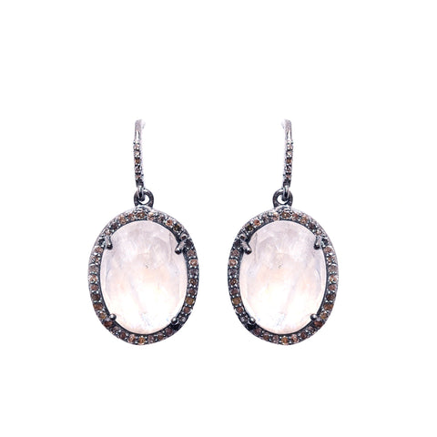 Oval Cut Diamond Halo Dangle Earrings moonstone silver