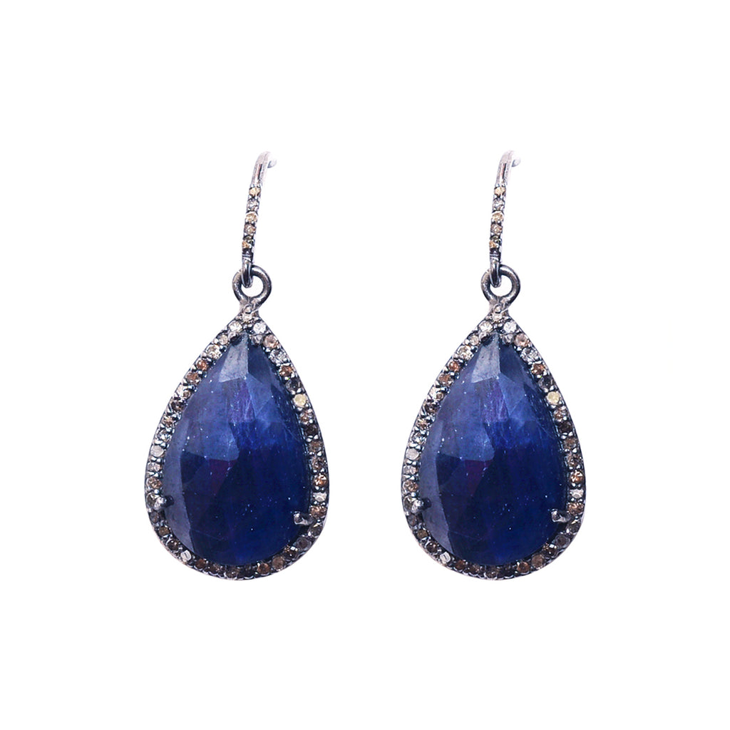 Pear Cut Diamond Halo Dangle Earrings blue sapphire silver