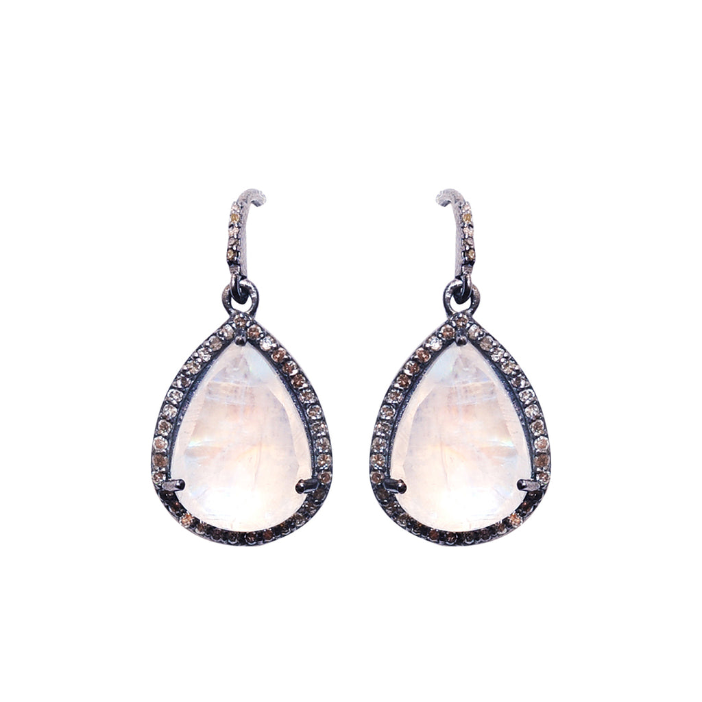 Pear Cut Diamond Halo Dangle Earrings moonstone silver