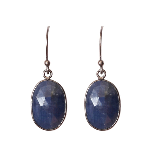 Oval Cut Dangle Earrings blue sapphire
