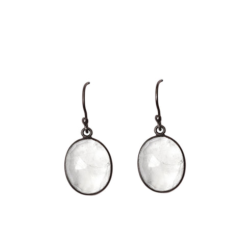Oval Cut Dangle Earrings moonstone silver gold