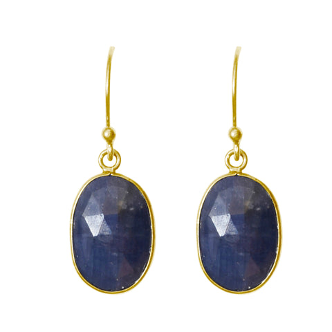 Oval Cut Dangle Earrings blue sapphire silver gold
