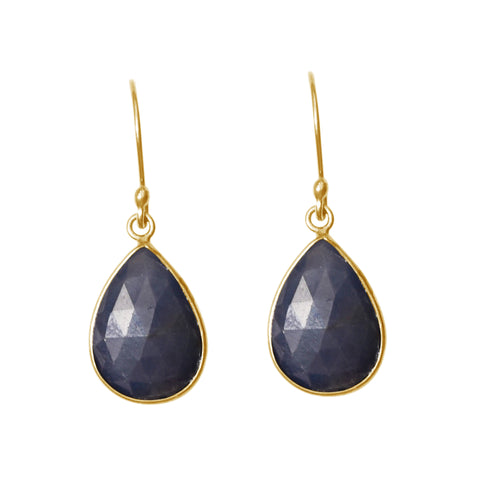 Pear Cut Dangle Earrings blue sapphire