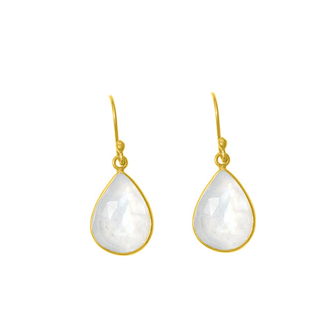 Pear Cut Teardrop Dangle Earrings moonstone silver gold