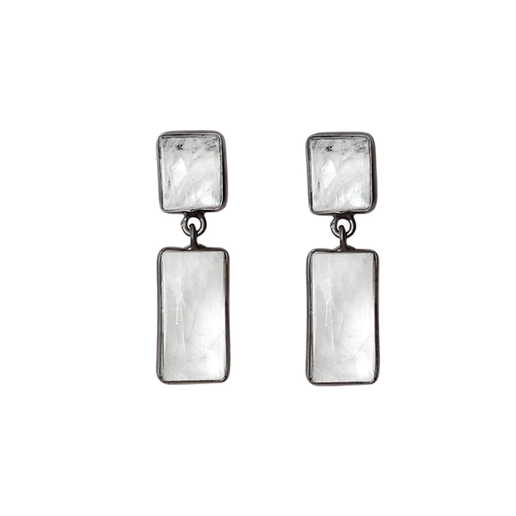 Bezeled Two Drop Dangle Earrings moonstone silver